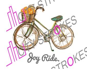 Bike illustration with 'Joy Ride' text DIGITAL FILE DOWNLOAD