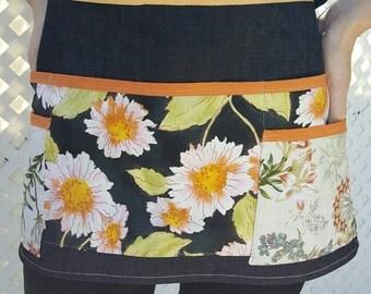 Black, fall tones floral waist apron, florist apron, gardening apron, waist aprons, waitress aprons, bartender aprons, aprons