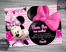 Minnie Mouse Thank you card, Minnie, Thank you card, Minnie Pink Thank you, Minnie Birthday, Chevron Thank you