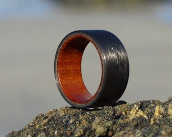 carbon fiber matte finish & mopame  wood ring
