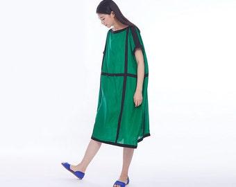 Silk dress,High-end Elegant dress,women dress,summer dress,party dress,Loose big yards dress,green dress - Women Clothing F635