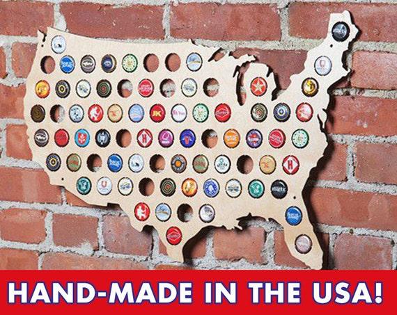 The Original Beer Cap Map of USA Display Beer Caps Craft Beer