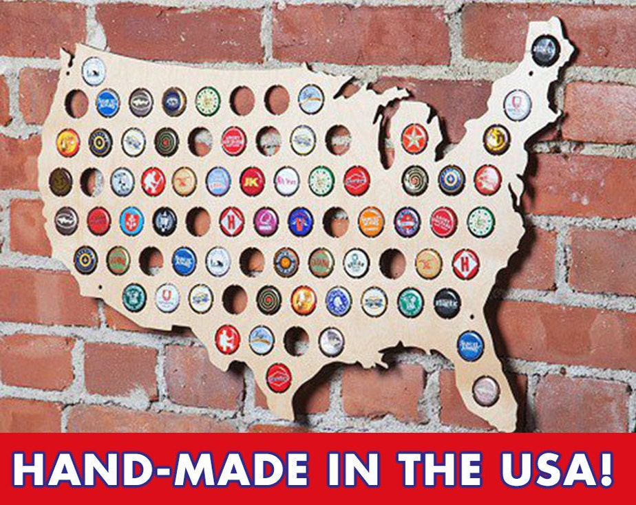 The Original Beer Cap Map Of USA Display Beer Caps Craft Beer - Us beer cap map