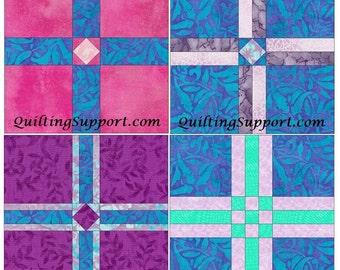 Cross Set of 4 Paper Piece Template Quilting Block Patterns Set 1 PDF