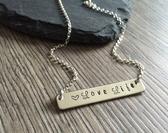Love Life Necklace, Silver Bar Necklace, Sterling Silver Bar, Love Life Bar Necklace, Hand Stamped