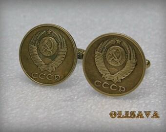 Soviet coin Cufflinks - Steampunk Cufflinks . Steampunk jewelry.