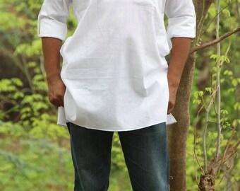 White Khadi Kurta With Rolled Up Sleeves / White Cotton Khadi Kurta / Full Sleeve Kurta / Gift For Him / Men's Kurta / Handspun Fabric Kurta