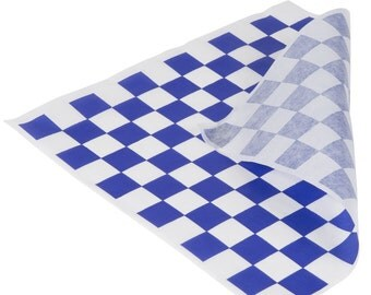 Blue Check Food Wraps, Sandwich Wraps, Food Tray Liners, Food Basket Liners, Car Party, BabyQ, bbq, Pool Party, Concessions, Wedding, Shower