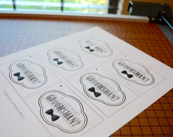 INSTANT DOWNLOAD Will You Be My Groomsman? Gift Tags - Bowtie