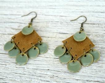 Geometric Leather Earrings - Leather Earrings - Dangle Earring - Leather Jewelry - Genuine Leather - Bohemian Jewelry - Bohemian Earrings