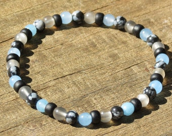Cancer Zodiac Boy's Power Bracelet for Luck, Patience,Tolerance,Anxiety and Nightmares with Blue Chalcedony, Moonstone & Snowflake Obsidian!
