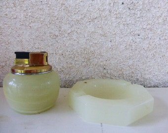 Ashtray and lighter rechargeable onyx vintage 1970