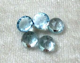 RD 7 mm Round (1 pcs) Natural Sky Blue TOPAZ AAA quality top rose cut Flat gemstone.....