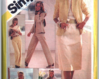 Simplicity Sewing Pattern 5384 Misses' Skirt, Straight-leg Pants, Blouse, Lined Jacket  Size:  12  Used