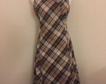 Vintage Brown Plaid Dress