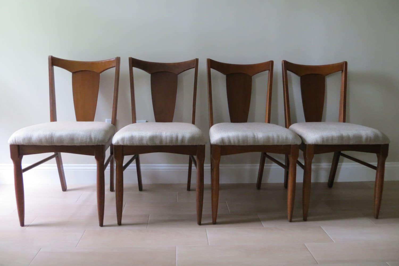 Mid Century Modern Walnut Dining Chairs Danish Style
