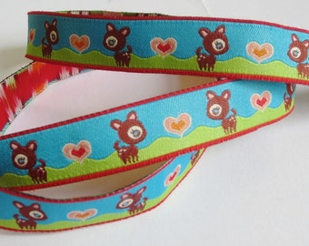 Woven Ribbon of 16 mm small deer with heart - blue/green