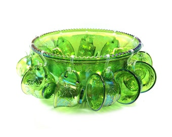 "Vintage Green Carnival Glass ""Princess"" Punch Bowl Set with 12 Cups, Iridescent Lime by Indiana Glass"