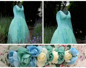 Adult  Fairy  Dress ~  Halloween Costume ~ Mint  Flower Headband ~  Theatre ~ Bridal ~ Theatre