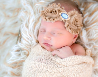 Beige Flower Headband-Newborn Headband-Baby Headband-Blue&gold Bling