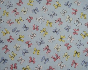 """Fat Quarter of 2016 Lecien Old New 30's Collection Spring Ribbons on Blue Background. Approx. 18"""" x 22"""" Made in Japan"""
