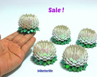 Sale! Lot of 5pcs White Color Small Origami Lotus. (RS paper series). #FLT-143.