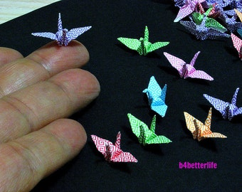 "100pcs Assorted Colors 1-inch Origami Cranes Hand-folded From 1""x1"" Square Paper. (MD paper series). #FC1-37."