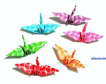 100pcs Assorted Colors Origami Cranes Hand-folded From 3.2 x 3.2cm Square Paper. #MD104a. (MD paper series).