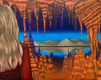 Stalagmite, stalagtite, cave art, cave painting, southwest art, southwest painting, new mexico art, surreal art, landscape, orange, blue