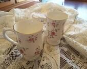 Vintage Royal Victoria  fine bone China rose spray footed tea or latte mugs