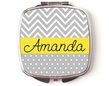 Personalized Compact Mirror - Personalized Bridesmaids Gifts - Gray Yellow Chevron Compact Mirrors