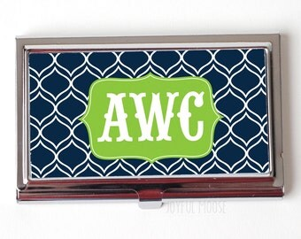 Elegant Monogram Business Card Case - Monogram Business Card Holder - Monogram Business Card Case - navy lime green