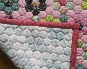 Handmade hexagon patchwork baby quilt, choose your own colourway.