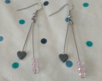 Pink Crystal and Heart Dangle Earrings
