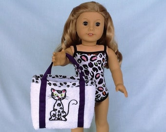 Leopard Print Bathing Suit and Beach Bag for American Girl/18 Inch Doll