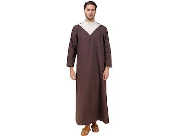 MyBatua Charcoal Cotton Fancy Galabiyya,hajj wear, Arab style Thobe, Dishdash, Daffah, Muslim Thobe, Islamic clothing, Men's attire GM-038