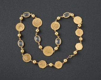 Vintage Gold Coin and Crystals Necklace