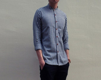 Mens Grandad Collar Shirt in Thin Stripes (Black)