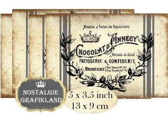 Chocolate Labels French Chocolaterie Vintage Grainsack Instant Download digital collage sheet P159