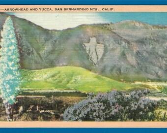 Vintage Linen Postcard - Arrowhead Rock Formation on the Slops of the San Bernadina Mountains, California (1915)
