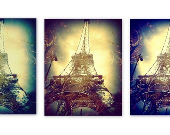 Eiffel Tower, Paris Wall Art, Set of 3 striking images,  Eiffel Tower Decor,