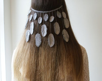 bohemian wedding veil -  silver bridal veil  with feathers - boho veil hair accessory - alternative wedding hair accessory