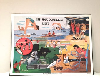 Vintage French Sports Poster - Vintage 1980s Summer Olympics Poster in French