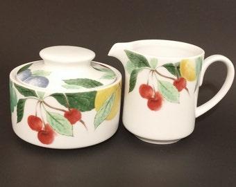 Reduced -NBU, New, Studio Nova Orchard Jewels Creamer and Sugar Bowl Set, Fruits Design, Tea Service, Coffee Service, Serving Set
