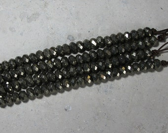 12x8mm faceted Gold Pyrite Rondelle large hole bead