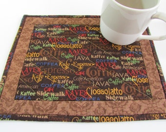 Quilted Coffee Print Mug Rug   Just The Thing For A Coffee Themed Gift  Basket Or