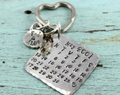 Calendar Anniversary Keychain - Wedding Date Keychain - Special Date, Adoption, Birthday  Personalized Hand Stamped Personalized -  Gift