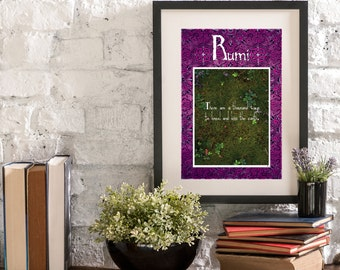 June Kneel and Kiss the Earth A Year of Rumi Inspirational Quote Artwork Print Poster