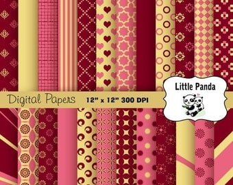 70% OFF SALE Pink Burgundy Buff Digital Paper - Digital Scrapbooking  - Instant Download - D240