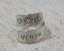 Vegan Hand Stamped Wrap Ring | Nature Gift | Personalized Ring | Friend Gift | Inspiration | Birthday Gift | Yoga